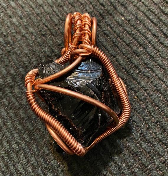 Black Obsidian Energy Wrap Pendant