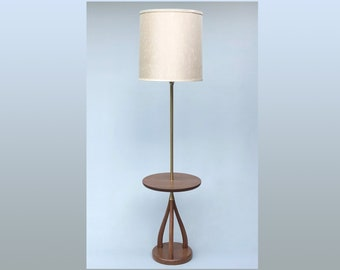 Vintage Mid Century Modern Floor Lamp With Table And Sculptural Base