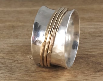 Sterling Silver and Gold Spinner Ring - Mixed Metal Ring - Silver Spinner Ring - Silver Band Ring  - Custom Ring - Fidget Ring