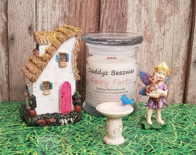 Fairy Fartz: 8oz Scented All Natural Air Purifying Beeswax, Organic Palm, Coconut & Soy Wax Candle With a Wood Wick