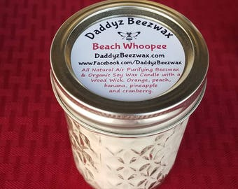 Beach Whoopee: Scented All Natural Beeswax & Organic Soy Wax Candle with a Wood Wick in a 8 oz Diamond Cut Mason Jar