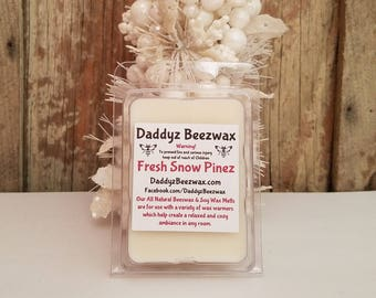 Fresh Snow Pinez: Scented All Natural Air Purifying Beeswax and Organic Soy Wax Melts! 6 Blocks Per Pack.