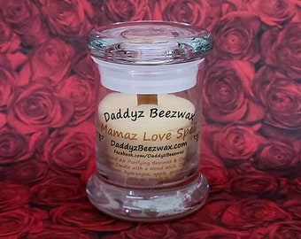 Mamaz Love Spell: Scented All Natural Air Purifying Beeswax & Coco Creme Wax Candle With a Wood Wick in a 3oz Jar With Lid