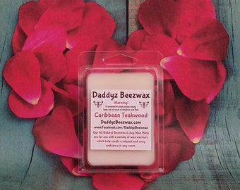 Caribbean Teakwood: Scented All Natural Beeswax, Palm, Coconut & Soy Wax Melts! 6 Blocks Per Pack.