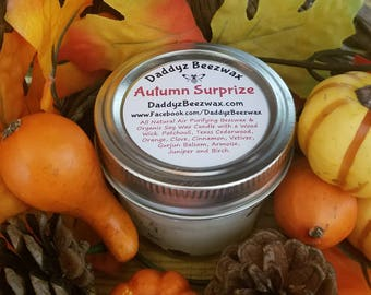 Autumn Surprize: Scented All Natural Air Purifying Beeswax & Organic Soy Wax Candle With a Wood Wick in a 4oz Diamond Cut Mason Jar