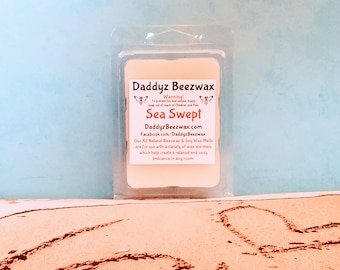 Sea Swept: Scented All Natural Air Purifying Beeswax and Organic Soy Wax Melts! 6 Blocks Per Pack.