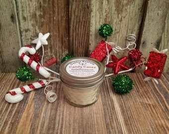 Candy Canez: Peppermint Scented All Natural Air Purifying Beeswax & Organic Soy Wax Candle With a Wood Wick in a 4oz Diamond Cut Mason Jar