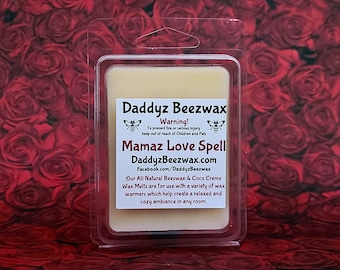 Mamaz Love Spell: Scented All Natural Beeswax and Organic Soy Wax Melts - 6 Blocks Per Pack