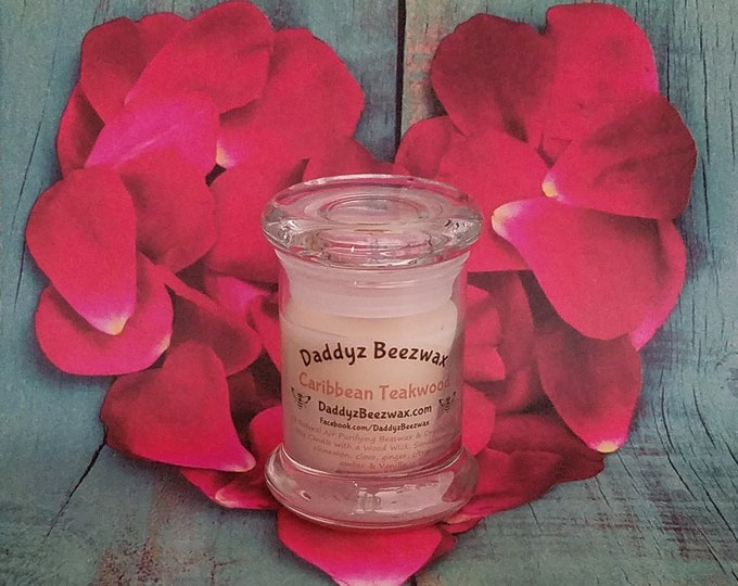Caribbean Teakwood: 3oz Scented All Natural Air Purifying Beeswax, Palm, Coconut & Soy Wax Candle With a Wood Wick