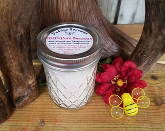 100% Pure Beeswax Candle in 8oz Diamond Cut Mason Jar With Wood Wick