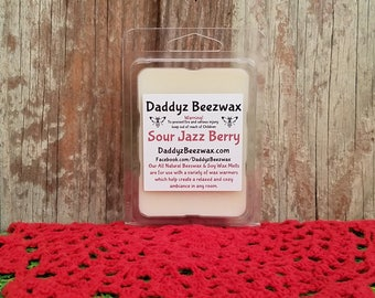 Sour Jazz Berry: Scented All Natural Beeswax and Organic Soy Wax Melts - 6 Blocks Per Pack