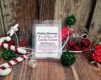 Candy Canez: Peppermint Scented All Natural Beeswax and Organic Soy Wax Melts - 6 Blocks Per Pack
