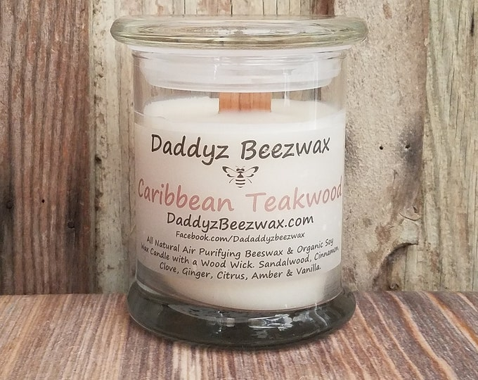 Caribbean Teakwood: 12oz Scented All Natural Air Purifying Beeswax, Palm, Coconut & Soy Wax Candle with Wood Wick