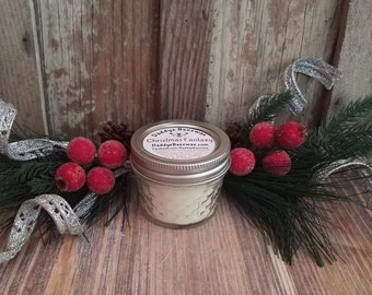 Christmas Fantazy: Scented ALL Natural Air Purifying Beeswax & Organic Soy Wax Candle With a Wood Wick in a 4oz Daimond Cut Mason Jar