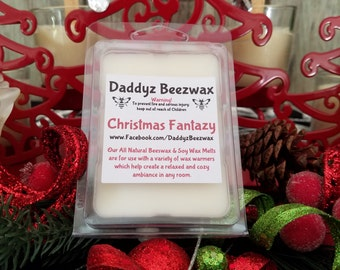Christmas Fantazy: Scented All Natural Beeswax and Organic Soy Wax Melts! 6 Blocks Per Pack.