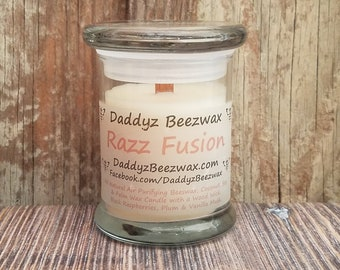 Razz Fusion: 8oz Scented All Natural Beeswax, Palm, Coconut & Soy Wax Candle With a Wood Wick