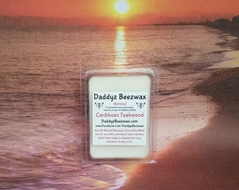Caribbean Teakwood: Scented All Natural Beeswax and Organic Soy Wax Melts! 6 Blocks Per Pack.