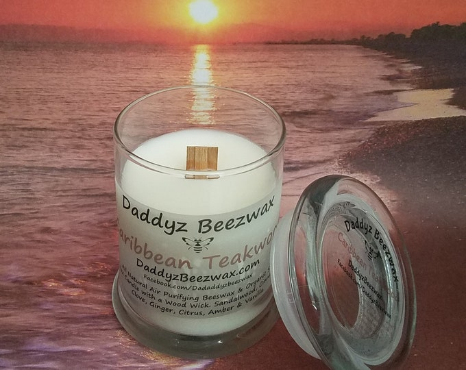 Caribbean Teakwood: 8oz Scented All Natural Beeswax, Palm, Coconut & Soy Wax Candle With a Wood Wick