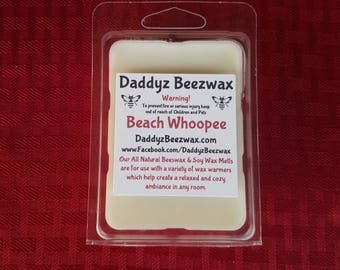 Beach Whoopee: Scented All Natural Beeswax and Organic Soy Wax Melts! 6 Blocks Per Pack.