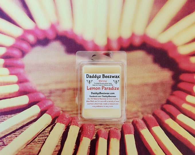 Lemon Paradize: Scented All Natural Beeswax and Coco Creme Wax Melts - 6 Blocks Per Pack