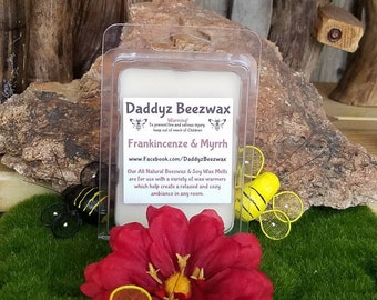 Frankincenze and Myrrh: Scented Natural Beeswax and Organic Soy Wax Melts! 6 Blocks Per Pack.