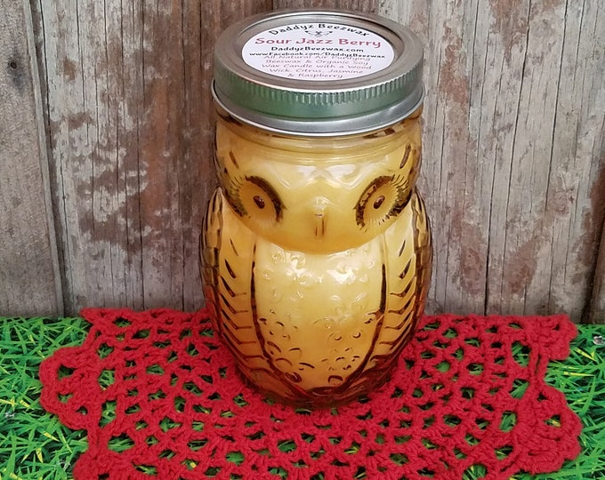 Sour Jazz Berry: 15oz Scented Natural Air Purifying Beeswax Coco Crème Candle With a Wood Wick in a Owl Jar