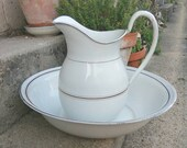 Vintage French enamelware water pitcher and basin. White and gold ewer and bowl.