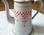 Vintage French enamelware coffee pot.