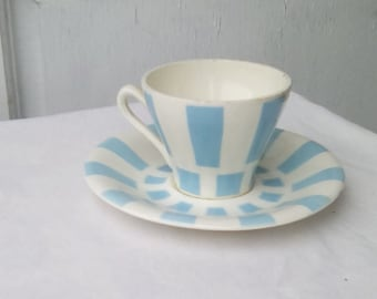 French vintage coffee cup and saucer, turquoise check pattern.