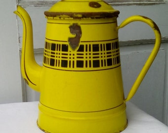 French enamelware coffee pot, bright yellow vintage pitcher.