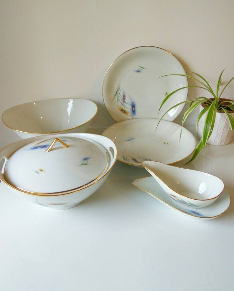 Mid century modern French Limoges porcelain soup Shallow dessert or pasta bowl stylish gold rimmed.