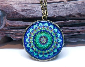 Mandala necklace, Unique pendant, Gypsy jewelry, Spiritual necklace, Blue green pendant, Mandala jewelry, Boho jewelry, Resin necklace