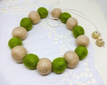 Unique Felted necklace, Felt balls, Beige Olive green Wool necklace, Felt jewelry, Bead necklace, Felted balls, Unique jewelry, Merino wool