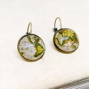 antique brass earrings antique bronze earrings glass dome earrings antique map earrings Vintage map earrings dangle earrings