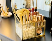 Personalized gift for her Elegant Glass Makeup Comestic Organizer , Makeup Brush Holder, plastic pearls acrylic lipstick divider included