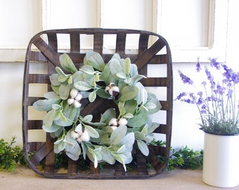 Espresso Painted Tobacco Basket with Cotton Wreath.