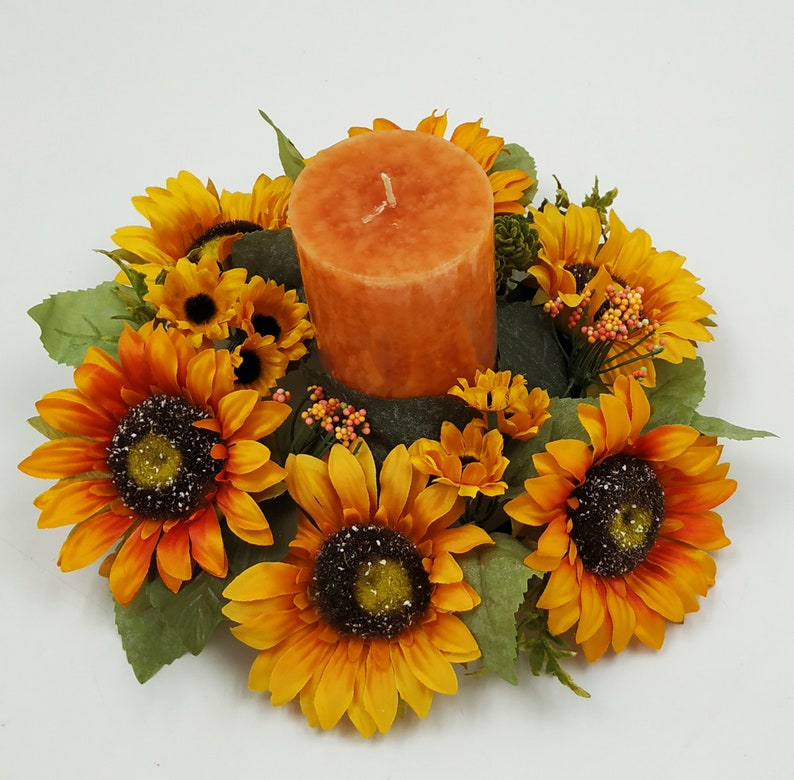 Candle Ring Fall Autumn Sunflower Hop 12 Wreath