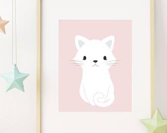 Cat Nursery Wall Art, Cat Print, Baby Girl Nursery Decor, Baby Animal Nursery Art, Cat Lover Gift, Nursery Wall Decor, Printable Wall Art