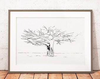 Modern Art, Tree Print, Black and White Art, Nature Art, Printable Wall Art, Digital Download Art, Home Decor Art Print, Office Wall Art
