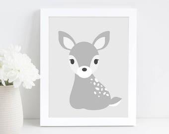 Deer Nursery Print, Woodland Nursery Wall Art, Black and White Nursery Decor, Woodland Animal, Printable Digital Download Art, Baby Gift