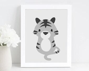 Tiger Nursery Art, Animal Nursery Print, Animal Lover Gift, Grey Nursery Art, Instant Download, Baby Gift, Printable Wall Art, Nursery Decor