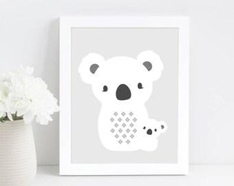 Koala Nursery Art, Scandinavian Print, Woodland Nursery, Baby Gift, Animal Nursery Wall Art, Downloadable Print, Printable Art,Nursery Decor