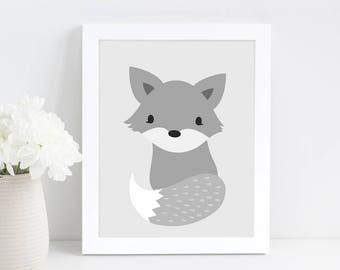 Woodland Nursery Wall Art, Fox Print, Baby Shower Gift, Scandinavian Print, Digital Download Art, Nursery Printable Art, Kids Wall Art Print