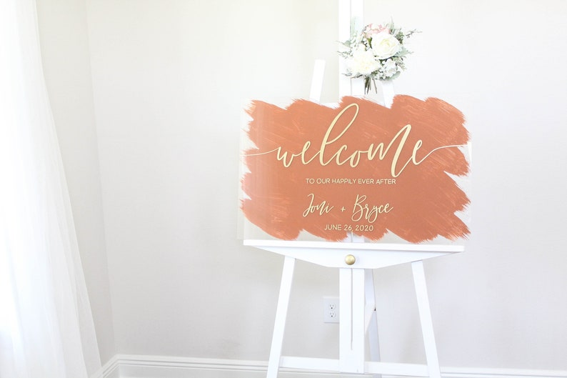 Happily Ever After  Acrylic Welcome Sign  Welcome To Our image 0