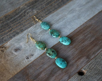 Green and Gold Drop Earrings, Green Beaded Earrings, Dangle Earrings, Green Stone Earrings, Handmade Earrings, Green and Gold, Earthtone