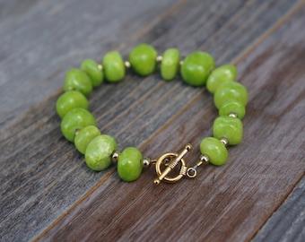 Semi-Precious Lime Green Stone Bracelet, Green Bracelet, Handmade Stone Bracelet, Green and Gold, Toggle Clasp Bracelet