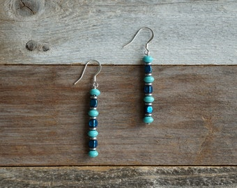 Turquoise and Silver Drop Earrings, Dangle Earrings, Turquoise Beaded Earrings, Turquoise and Blue, Turquoise Dark Grey, Handmade Earrings