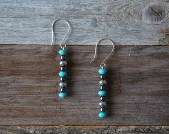 Turquoise and Silver Drop Earrings, Dangle Earrings, Turquoise Beaded Earrings, Turquoise and Silver, Turquoise Dark Grey, Handmade Earrings