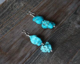 Turquoise Dangle Earrings, Chunky Turquoise Drop Earrings, Handmade Earrings, Turquoise and Silver Earrings, Turquoise Howlite Earrings