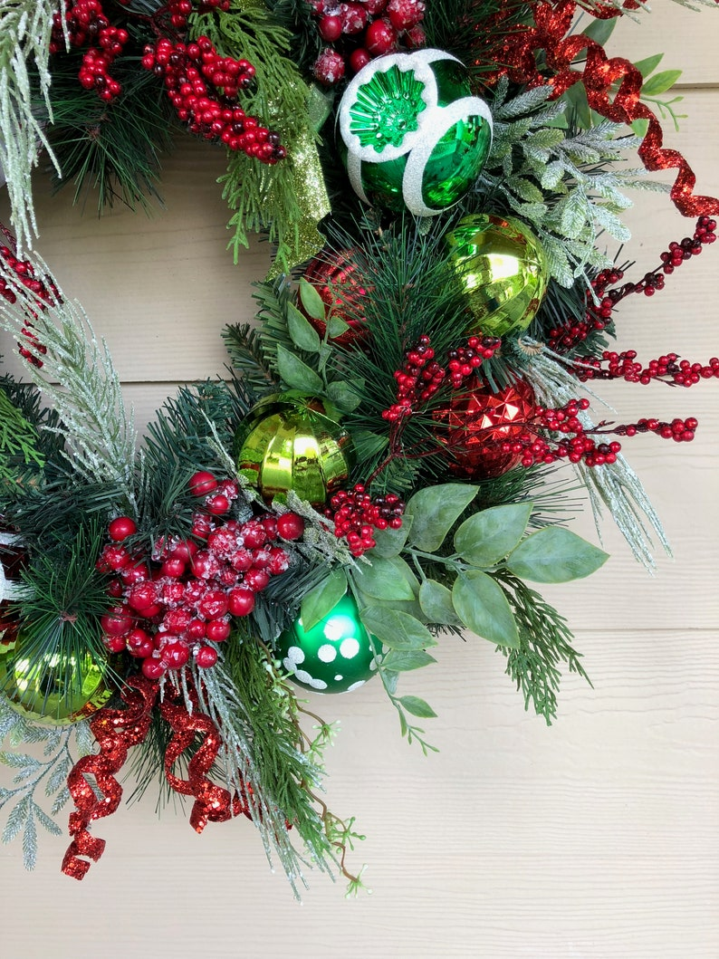 Christmas Wreath Red and Green Wreath Front Door Wreath Holiday Wreath
